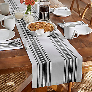 "Elrene Home Fashions Farmhouse Living Homestead Stripe Table Runner, 13"" x 70"", Black/White, Black/White, rollover"
