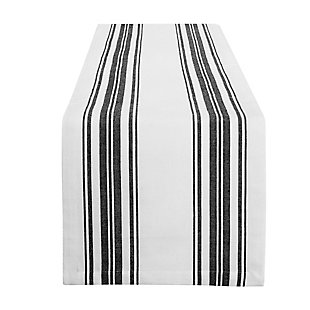 "Elrene Home Fashions Farmhouse Living Homestead Stripe Table Runner, 13"" x 70"", Black/White, Black/White, large"