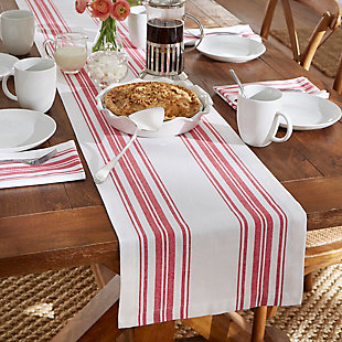 "Elrene Home Fashions Farmhouse Living Homestead Stripe Table Runner, 13"" x 70"", Red/White, , rollover"