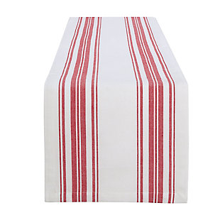 "Elrene Home Fashions Farmhouse Living Homestead Stripe Table Runner, 13"" x 70"", Red/White, , large"
