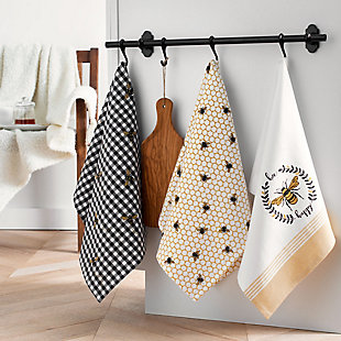 Elrene Home Fashions Farmhouse Living Bee Happy Honeycomb Kitchen Towels - Set of 3, , rollover