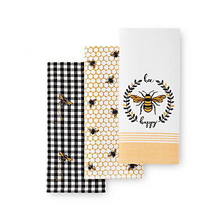 Elrene Home Fashions Farmhouse Living Bee Happy Honeycomb Kitchen Towels - Set of 3, , large