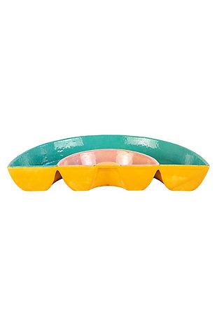 Kalalou Ceramic Rainbow Chip and Dip Tray, , large