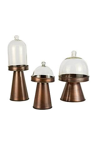 Kalalou Glass and Metal Display Stands (Set of 3), , large