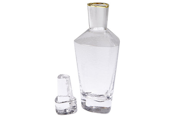 Global Views Hammered Decanter Clear with Gold Rim, , large