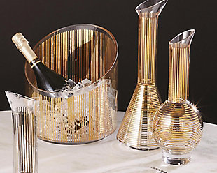 Global Views Gold Stripe Wine Decanter Sphere, , rollover