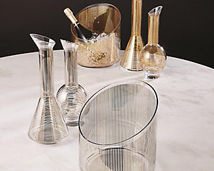 Global Views Platinum Stripe Ice Bucket, , rollover