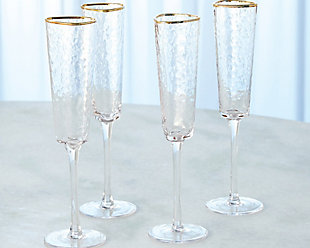 Global Views Set of 4 Hammered Champagne Glasses Clear with Gold Rim, , rollover