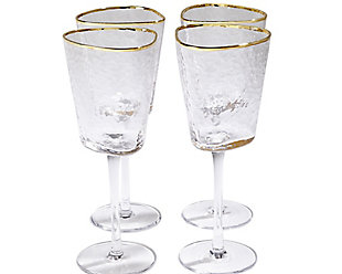 Global Views Set of 4 Hammered Wine Glasses Clear with Gold Rim, , large