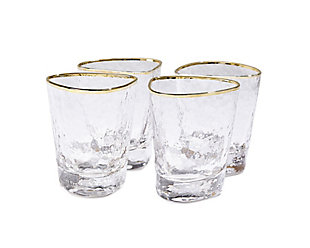 Global Views Set of 4 Hammered DOF Glasses Clear with Gold Rim, , large