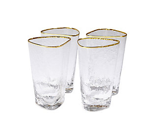 Global Views Set of 4 Hammered High Ball Glasses Clear with Gold Rim, , large