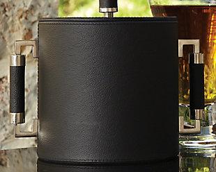 Global Views Double Handle Ice Bucket Black Leather, , large