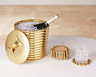 Global Views Starburst Crown Coasters Brass, Brass, rollover