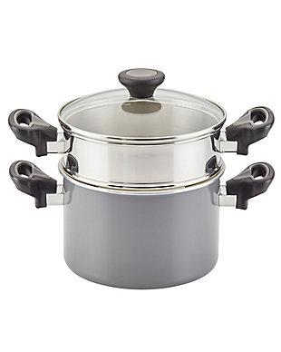 Farberware Go Healthy 3 Qt. Covered Saucepot w/Steamer Insert, Gray, , rollover