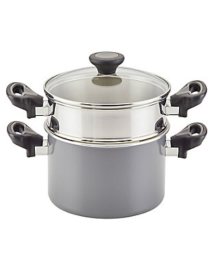 Farberware Go Healthy 3 Qt. Covered Saucepot w/Steamer Insert, Gray, , large