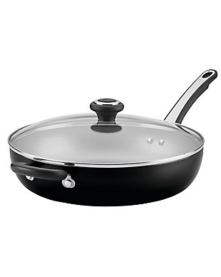 Farberware High Performance Aluminum Nonstick 12-Inch Covered Deep Skillet w/HH, Black, , large