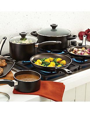 Farberware High Performance Aluminum Nonstick 17-Piece Cookware Set, Black, Black, rollover