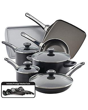 Farberware High Performance Aluminum Nonstick 17-Piece Cookware Set, Black, Black, large