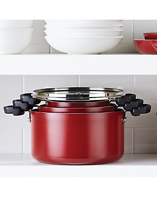 Farberware Neat Nest Nonstick 6-Quart Covered Saucepan, Red, , rollover