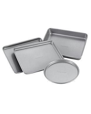 "Farberware Nonstick Bakeware 4-Piece Toaster Oven Set: (2) 10""x7"" Cookie Pans, (1) 10"" x 7"" Cake Pan, (1) 7"" Pizza Pan, , large"