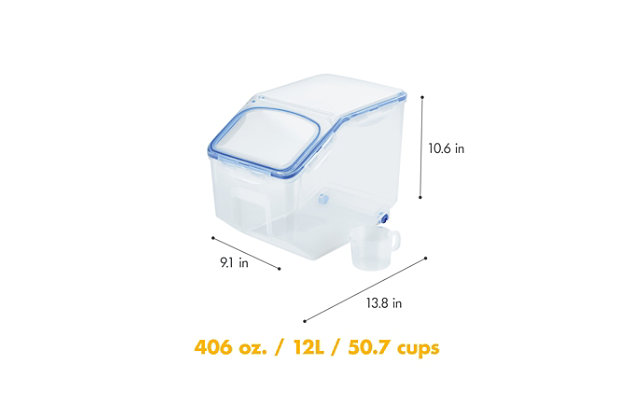 Lock & lock Easy Essentials™ Pantry Rectangular Food Storage Container with Serving Cup, 50-Cup, , large