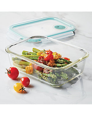Lock & lock Lock and Lock Purely Better™ Glass Rectangular Food Storage Container with Steam Vent, 67-Ounce, , rollover