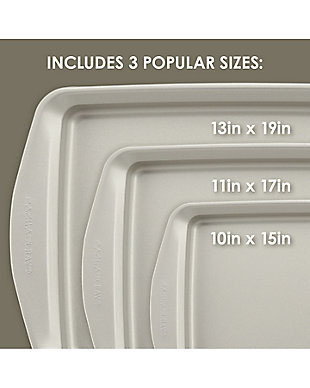 Rachael Ray 3 Piece Cookie Pan Set, Champagne Pewter, , rollover