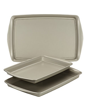 Rachael Ray 3 Piece Cookie Pan Set, Champagne Pewter, , large