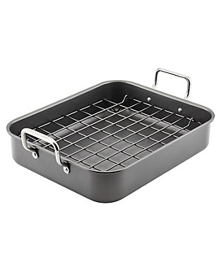 Rachael Ray Bakeware w/out Grips 16 x 13 x 3.5 Roasting Pan w/Reversible Rack, , large