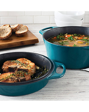 """Rachael Ray Cast Iron Double Duty - 4 Qt. Casserole w/10"""" Griddle Lid, Teal Shimmer, , rollover"""