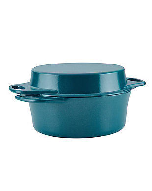 """Rachael Ray Cast Iron Double Duty - 4 Qt. Casserole w/10"""" Griddle Lid, Teal Shimmer, , large"""