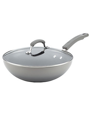 """Rachael Ray Classic Brights Collection Porcelain II 11"""" Covered Stir Fry, Sea Salt Gray Gradient, Sea Salt, large"""