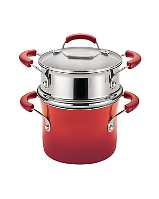Rachael Ray Classic Brights Collection Porcelain II Nonstick 3-Quart Covered Steamer Set, Red, Red, rollover