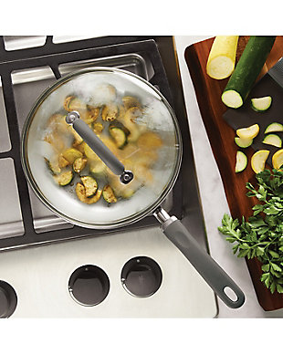 """Rachael Ray Create Delicious Enameled Aluminum 9.5"""" Covered Deep Skillet, Gray Shimmer, Gray Shimmer, rollover"""