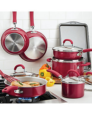Rachael Ray Create Delicious Enameled Aluminum, Red Shimmer 13 Piece Set, Red Shimmer, rollover