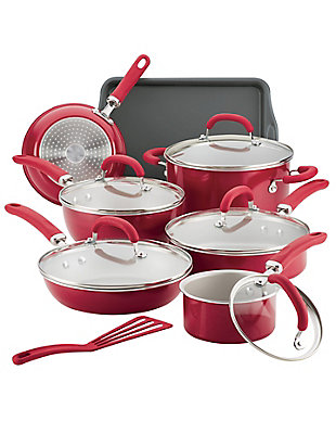 Rachael Ray Create Delicious Enameled Aluminum, Red Shimmer 13 Piece Set, Red Shimmer, large