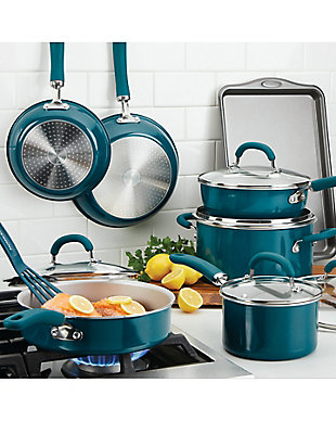 Rachael Ray Create Delicious Enameled Aluminum, Teal Shimmer 13 Piece Set, , rollover