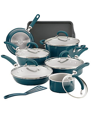 Rachael Ray Create Delicious Enameled Aluminum, Teal Shimmer 13 Piece Set, , large