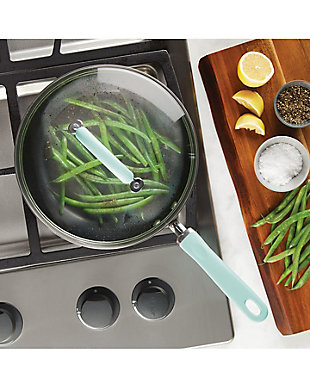 """Rachael Ray Create Delicious Hard Anodized 10.25"""" Covered Deep Skillet, Red, Gray, rollover"""