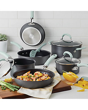 Rachael Ray Create Delicious Hard Anodized 11 Piece Set Red, Gray, rollover