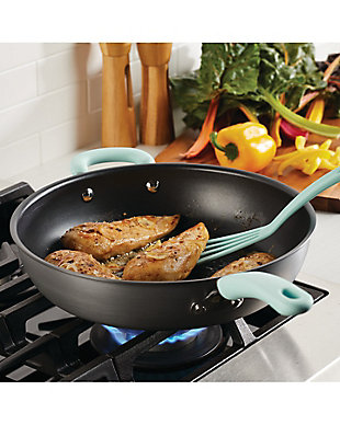 """Rachael Ray Create Delicious Hard Anodized 12.5"""" Open Deep Skillet w/HH Teal, Gray, rollover"""