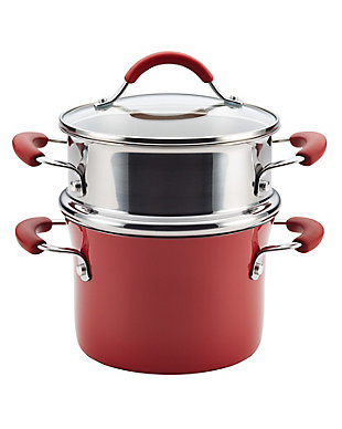 Rachael Ray Cucina Ceramics 3-Quart Open Steamer Set, Cranberry Red, Cranberry Red, large