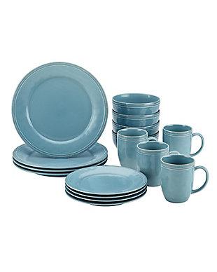 "Rachael Ray Cucina Dinnerware 16-Piece Set: (4) 10.5"" Dinner Plates, (4) 8"" Salad/Dessert Plates, (4) 5.5"" Cereal Bowls, (4) 12 oz. Mugs, Agave Blue, Agave Blue, large"