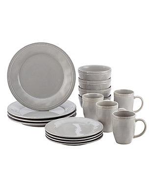 "Rachael Ray Cucina Dinnerware 16-Piece Set: (4) 10.5"" Dinner Plates, (4) 8"" Salad/Dessert Plates, (4) 5.5"" Cereal Bowls, (4) 12 oz. Mugs, Sea Salt Gray, Sea Salt Gray, large"