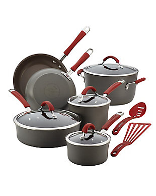 Rachael Ray Cucina Hard Anodized 12-Piece Cookware Set, Cranberry Red Handle, Cranberry Red, large
