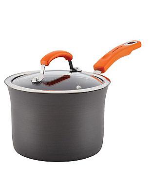 Rachael Ray Hard-Anodized Aluminum Nonstick 3-Quart Covered Saucepan, Gray with Orange Handle, , large