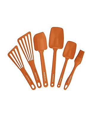 "Rachael Ray Tools and Gadgets 6-Piece Set:  Large Oval Pastry Brush, 12"" Nylon Turner, 10"" Nylon Turner, 9.5"" Spoonula, 12.5"" Spoonula, 10"" Spatula, Orange, , rollover"