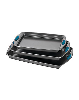 Rachael Ray Yum-O Nonstick Bakeware 3-Piece Oven Lovin Cookie Pan Set, Marine Blue Silicone Grips, Marine Blue, large
