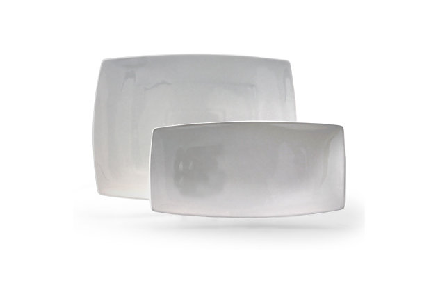 Gibson Gracious Dining 2 Piece Serving Platter Set, White, , large