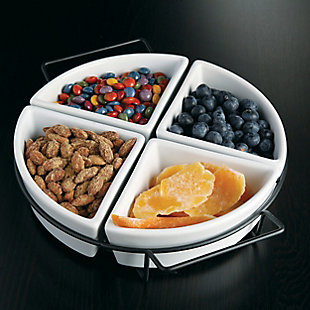Gibson Gracious Fine Ceramic Dining Four Section Tray Set with Metal Rack in White, , rollover